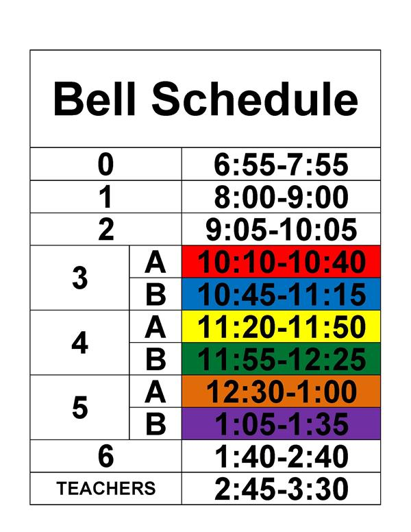 Full Day Bell Schedule